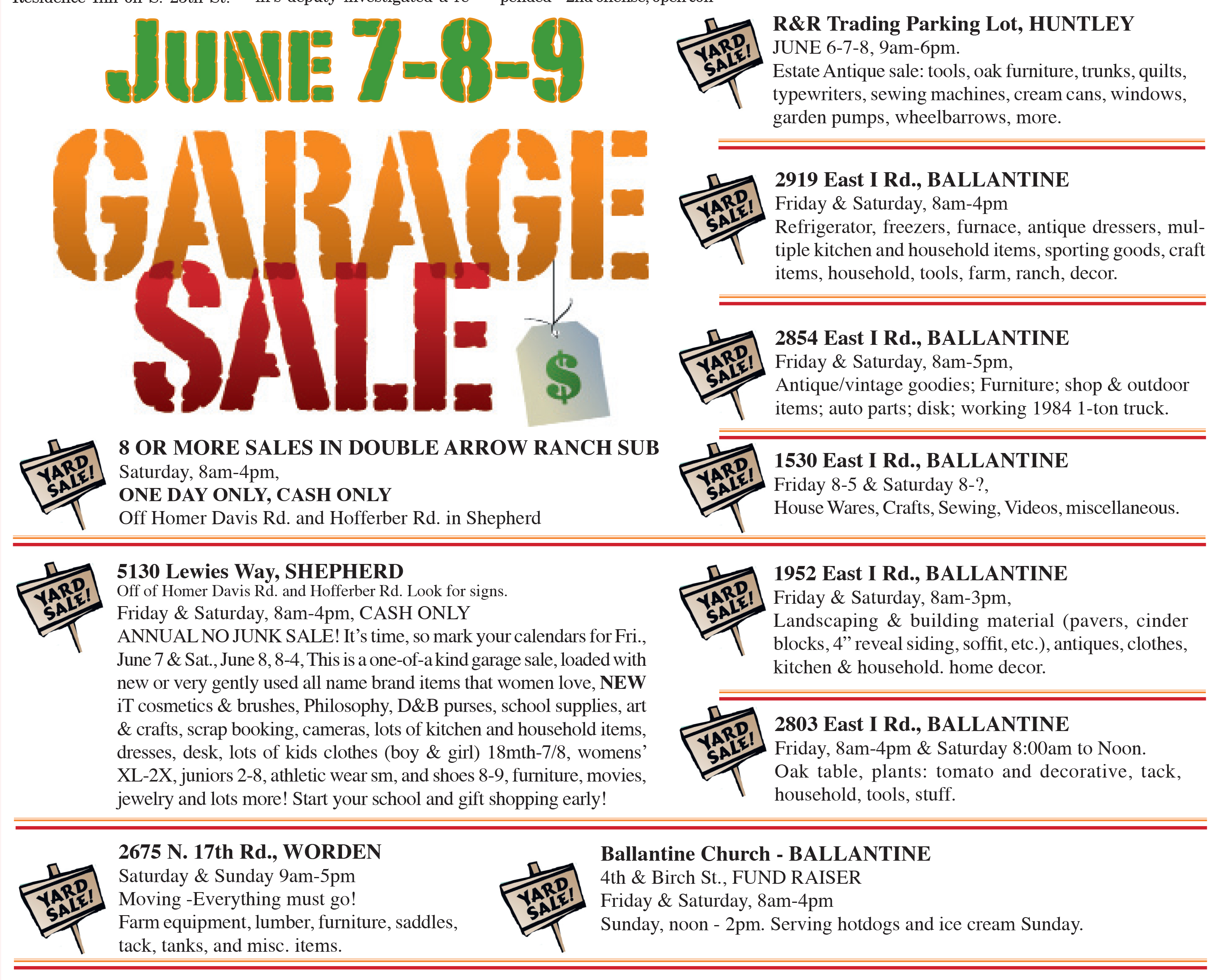 Garage Sales for this weekend – Huntley Project- Online